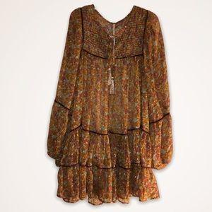 FREE PEOPLE Metallic Boho Hippie Mini Dress SZ L!